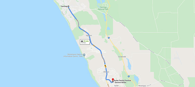 directions from Yanchep to Butler Family Practice