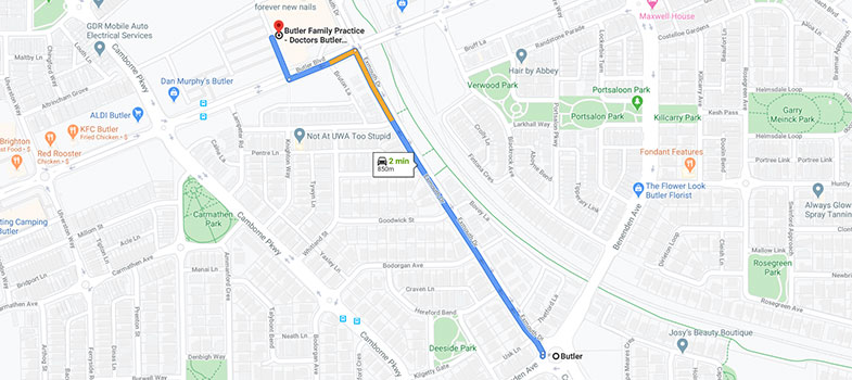 directions from Butler to Butler Family Practice
