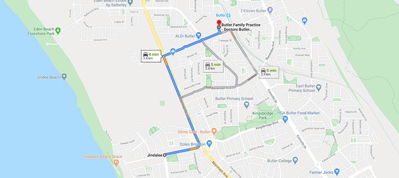 directions from Jindalee to Butler Family Practice