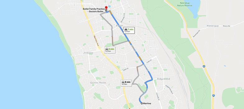 directions from Merriwa to Butler Family Practice