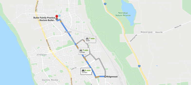 directions from Ridgewood to Butler Family Practice